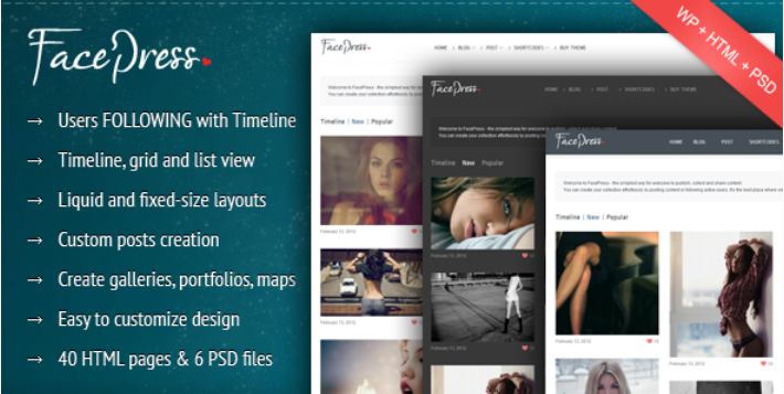 FacePress – Community Content Sharing Theme