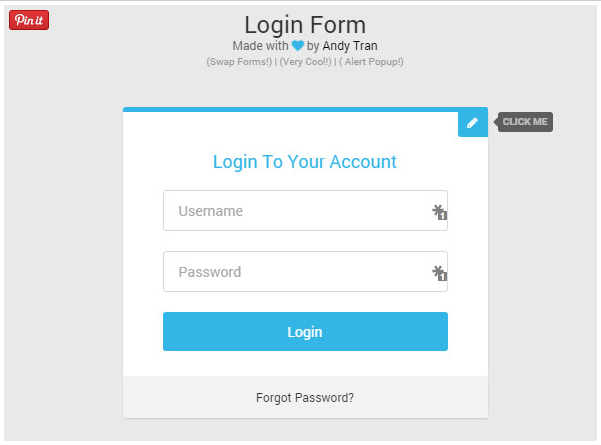 Login Form with Create Account