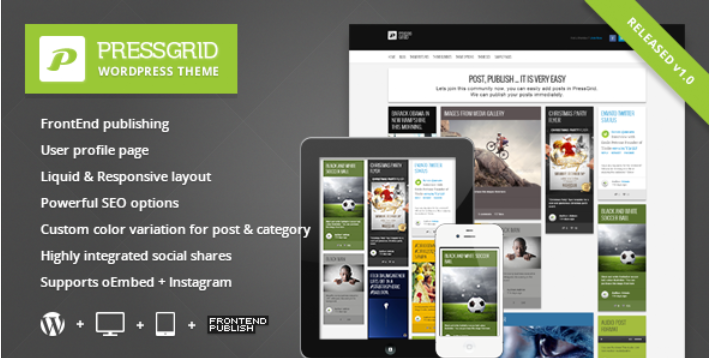 PressGrid – Frontend publishing & Multimedia Theme
