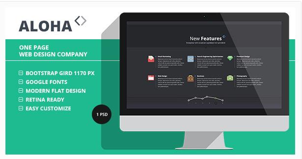 Aloha – One Page Web Design Company PSD Template