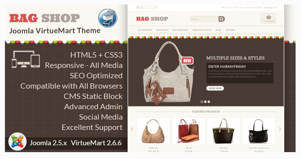Bag Shop - VirtueMart Responsive Template