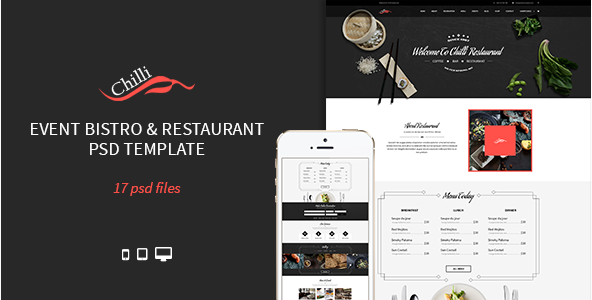 Chilli - Event Bistro & Restaurant PSD Template