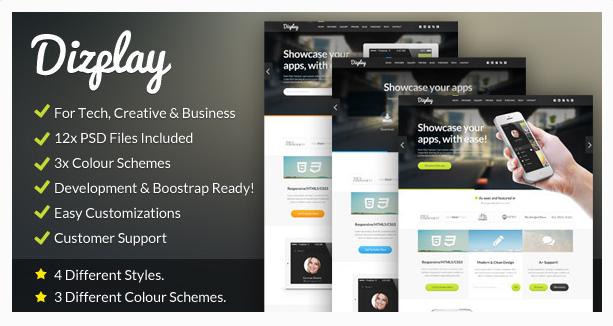 Dizplay - Single Page Web & App Showcase Template