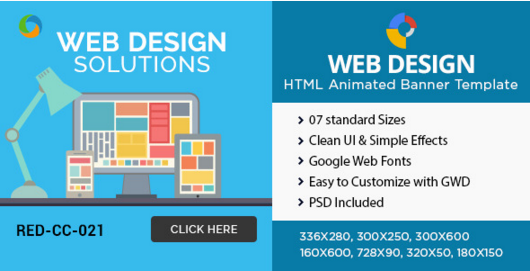 HTML5 Design company Banners - GWD - 7 Sizes