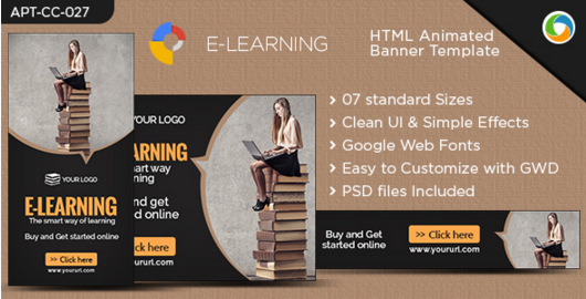 HTML5 E-Learning Banners - GWD - 7 Sizes