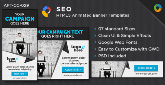 HTML5 Multi Purpose Banners - GWD - 7 Sizes