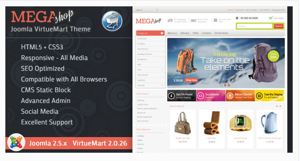 Mega Shop - VirtueMart Responsive Theme