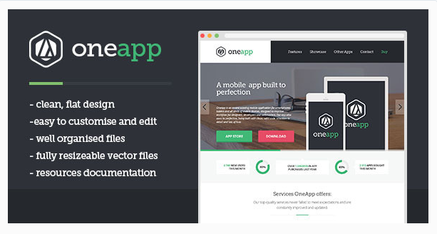 OneApp - Flat One-page App Template