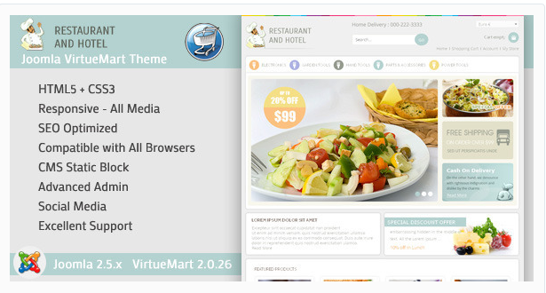 Restaurant - VirtueMart Responsive Template