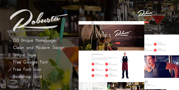 Robusta - Restaurant, Bar, Pub PSD Template