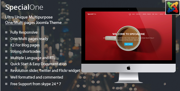 SpecialOne - One Page Joomla Template