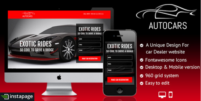 Auto Car - Buy Rent Sale Instapage Landing Page