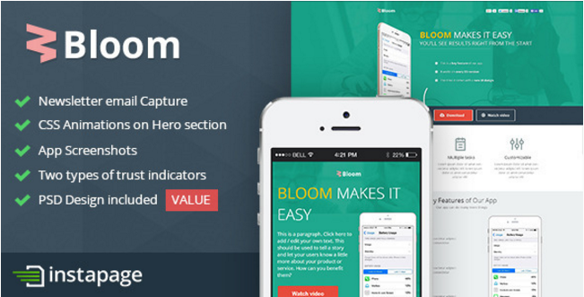 Bloom - Instapage Mobile App Template