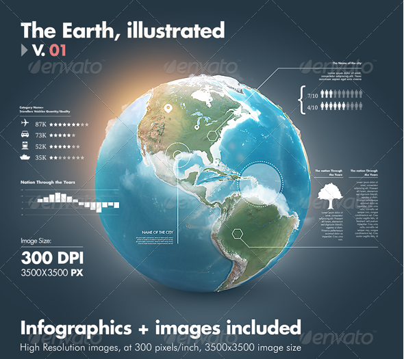 Earth Illustrated, 3D World and Infographics - V1