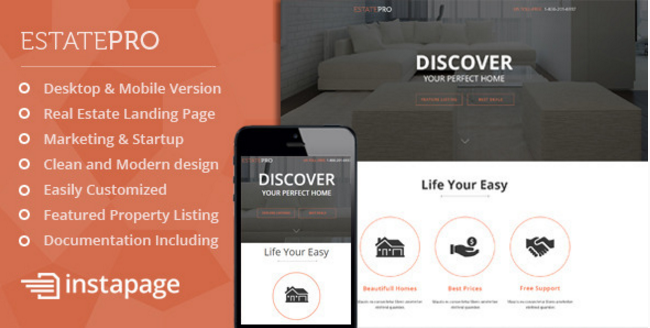 EstatePro - Real Estate Instapage Landing Page