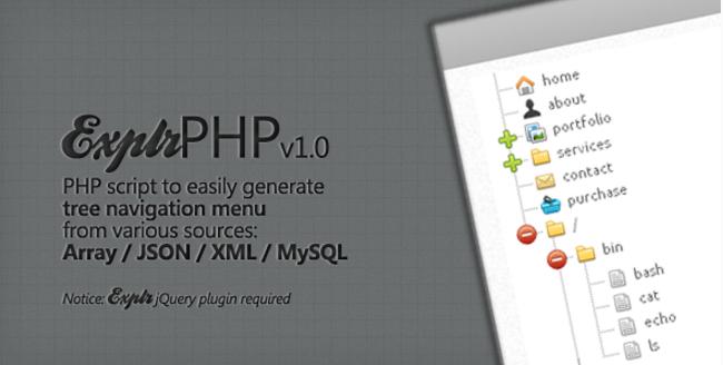 ExplrPHP - Easy Tree Navigation Menu