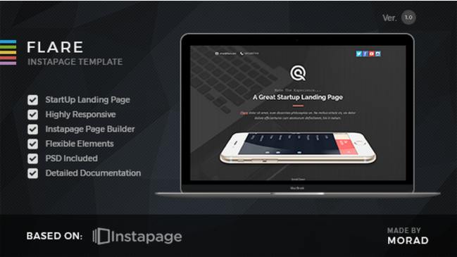Flare - Instapage Startup Landing Page