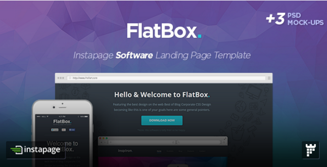 FlatBox - Instapage Startup Landing Page Template