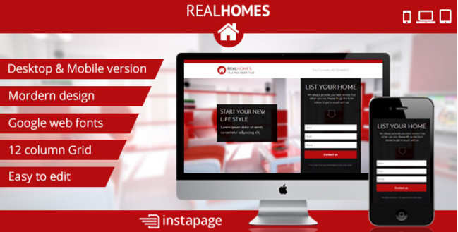 Instapage RealHomes - Real Estate Landing Page