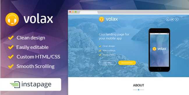Volax - Instapage Mobile App Landing Page