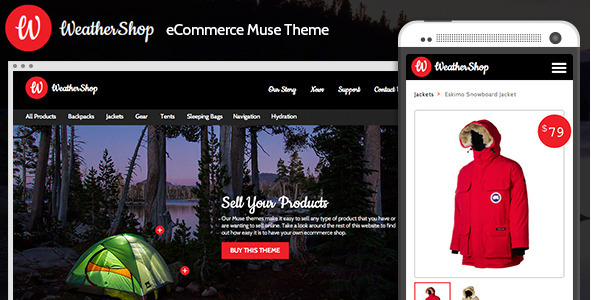 Weather Shop - eCommerce Adobe Muse Theme