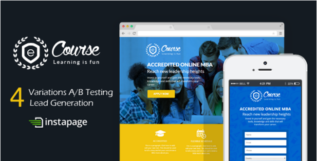 eCourse - Instapage Education Sign Up Landing Page