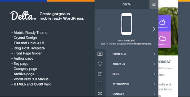 Delta - Flat Designed WP Mobile Theme