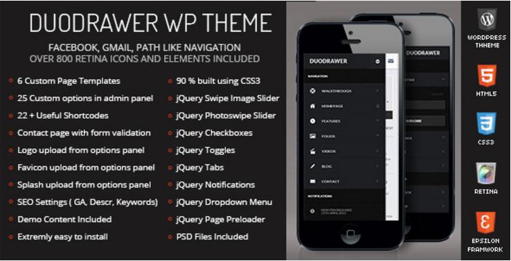 DuoDrawer Mobile Retina | WordPress Version