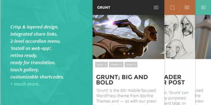 GRUNT: A Big and Bold Mobile WordPress Theme
