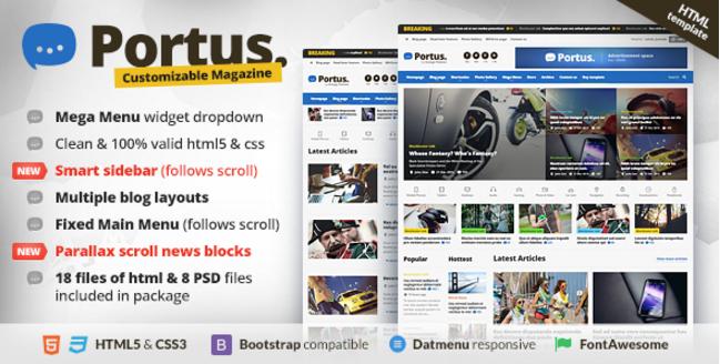 Portus - Responsive Blog & Magazine HTML Theme