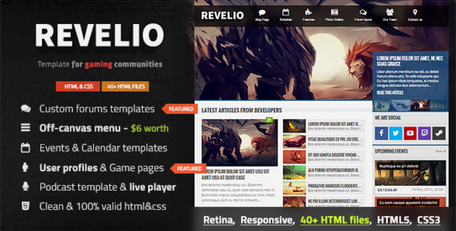Revelio - The Gaming Template HTML