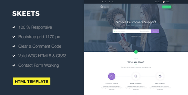 Skeets — Ticket Support HTML Template