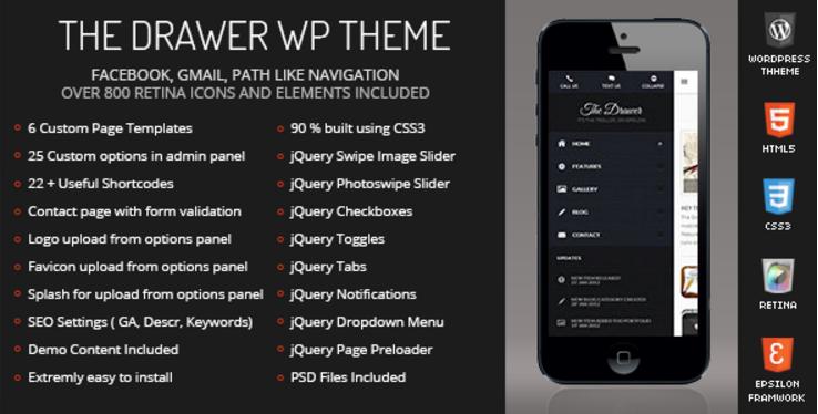 The Drawer Mobile Retina | WordPress Version