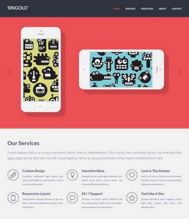 Free Singolo Flat PSD Website Template