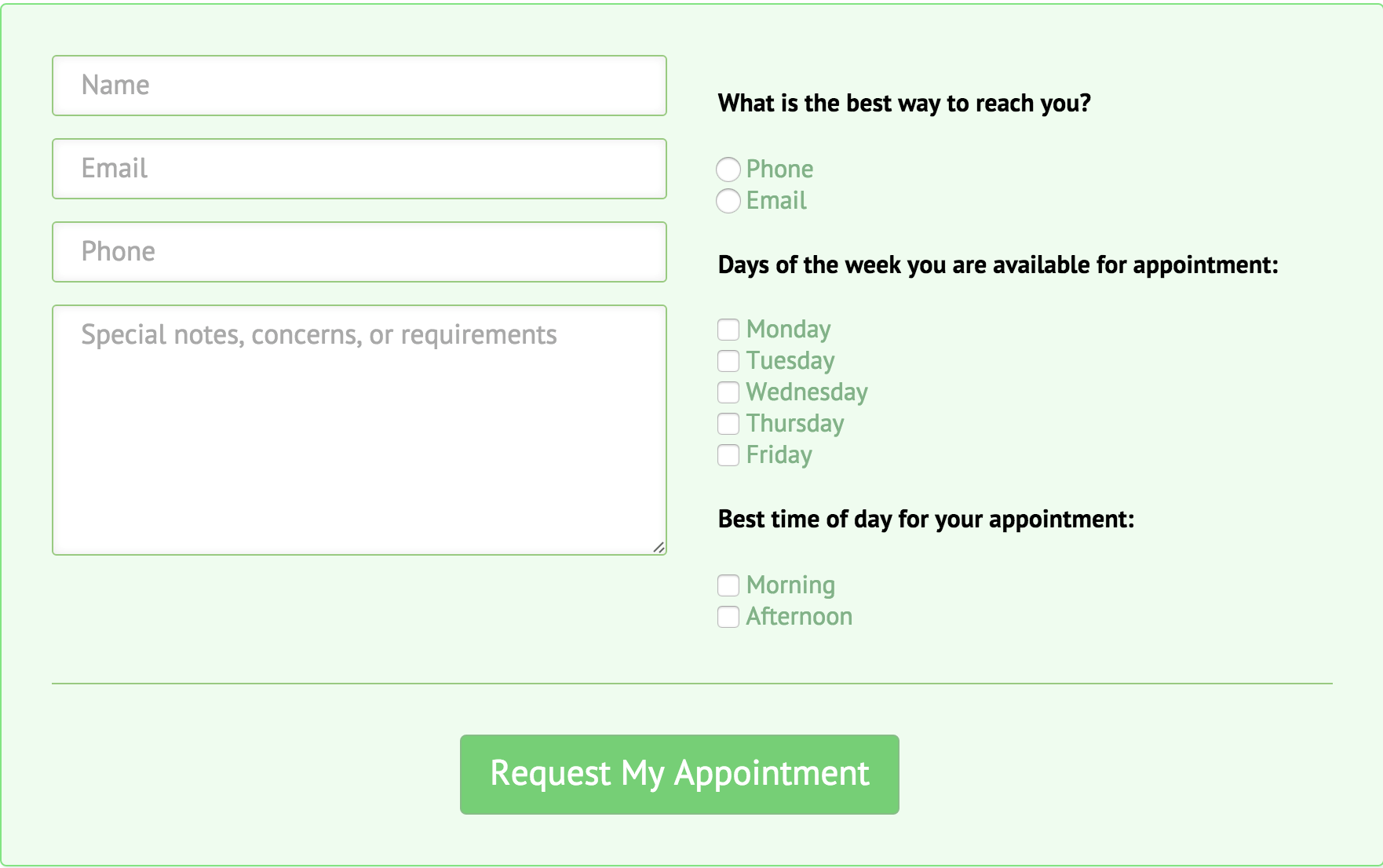 Appointment Contact Form
