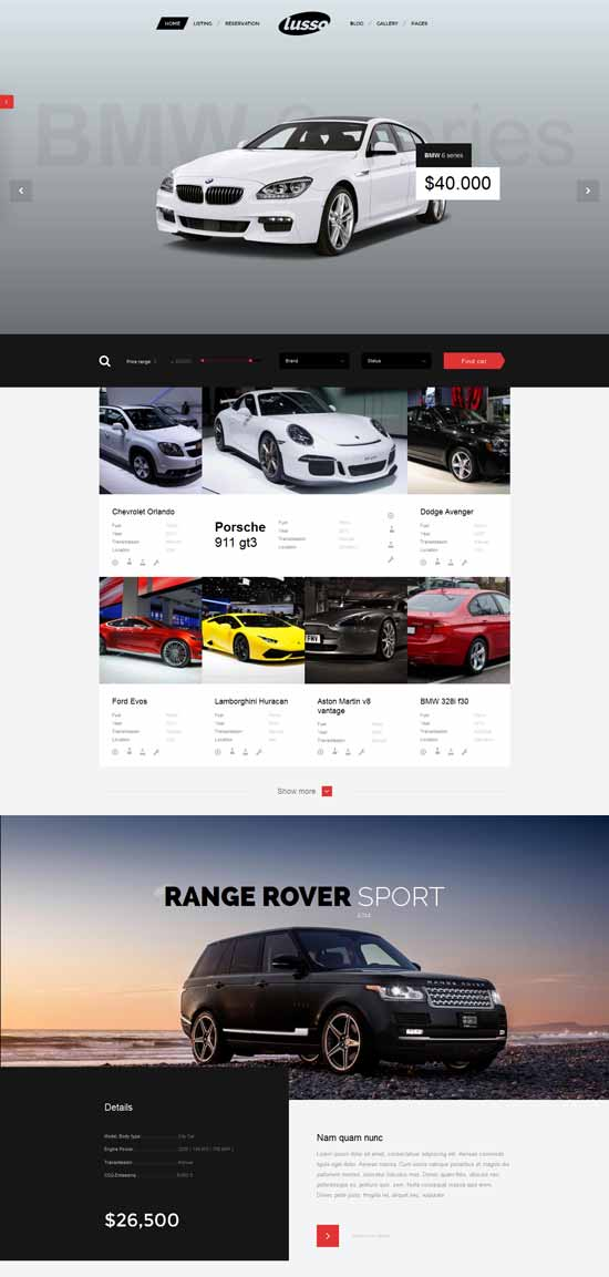Lusso Car Rental WordPress Theme