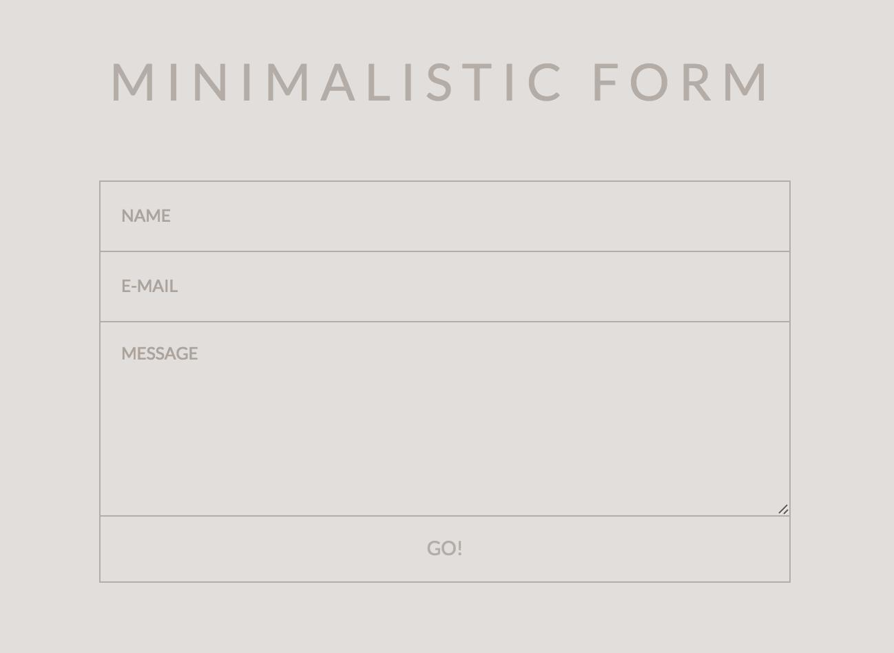 MINIMALISTIC FORM