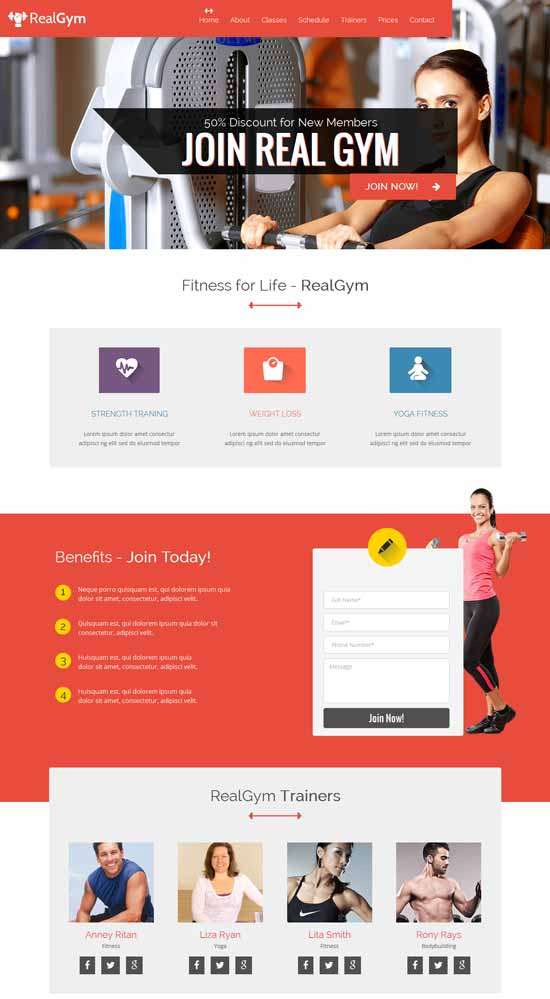 RealGym – Health And Fitness Template – HTML CSS