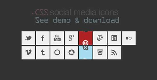 Social Media Icons including .CSS Slide Effect