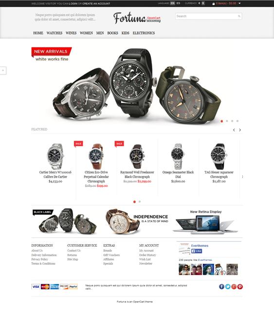 Fortuna – Elegant and responsive OpenCart theme