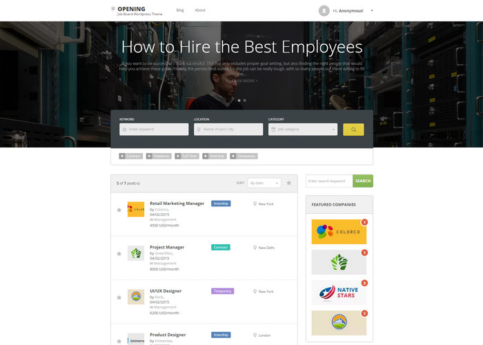 Opening – Job Board WordPress Theme