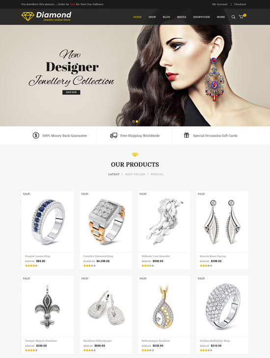 Diamond – Jewellery Responsive WooCommerce Theme
