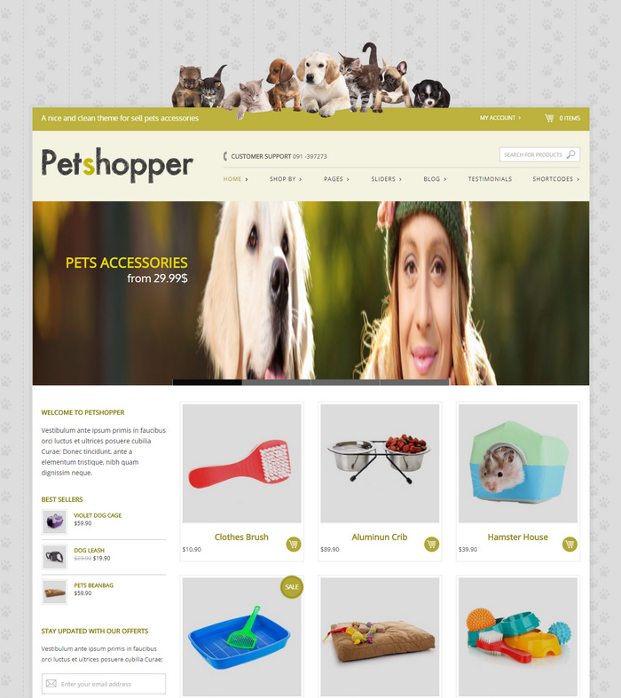 Petshopper – Free Responsive WordPress eCommerce Theme