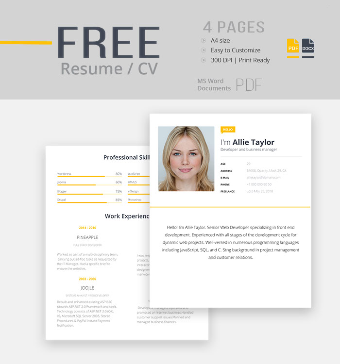 30 amazing latest free resume templates in psd docx word and ai
